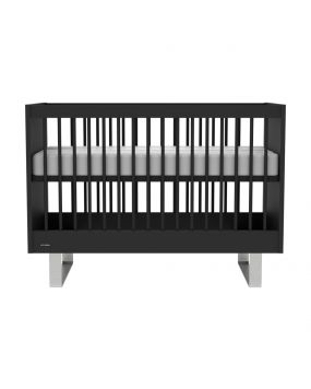 Intense Zwart / RVS - Ledikant 60x120