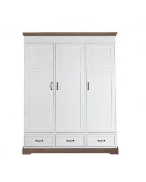 Savigno Wit / Grijs zonder kruis - Linnenkast (3 deuren)