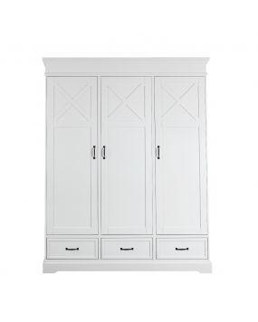 Savona Wit met kruis - Linnenkast (3 deuren)